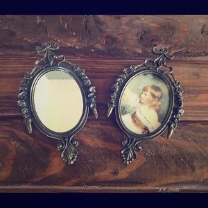 Pair of Mini Vintage Italian Brass Ornate Frames